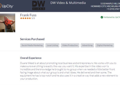 Frank Fuss recommends DW Video upcity testimonials